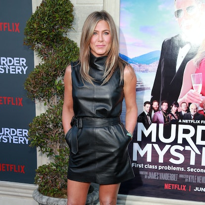 """US actress Jennifer Aniston arrives to attend the Los Angeles premiere screening of the Netflix film """"Murder Mystery"""" at the Regency Village Theatre in Los Angeles on June 10, 2019."""
