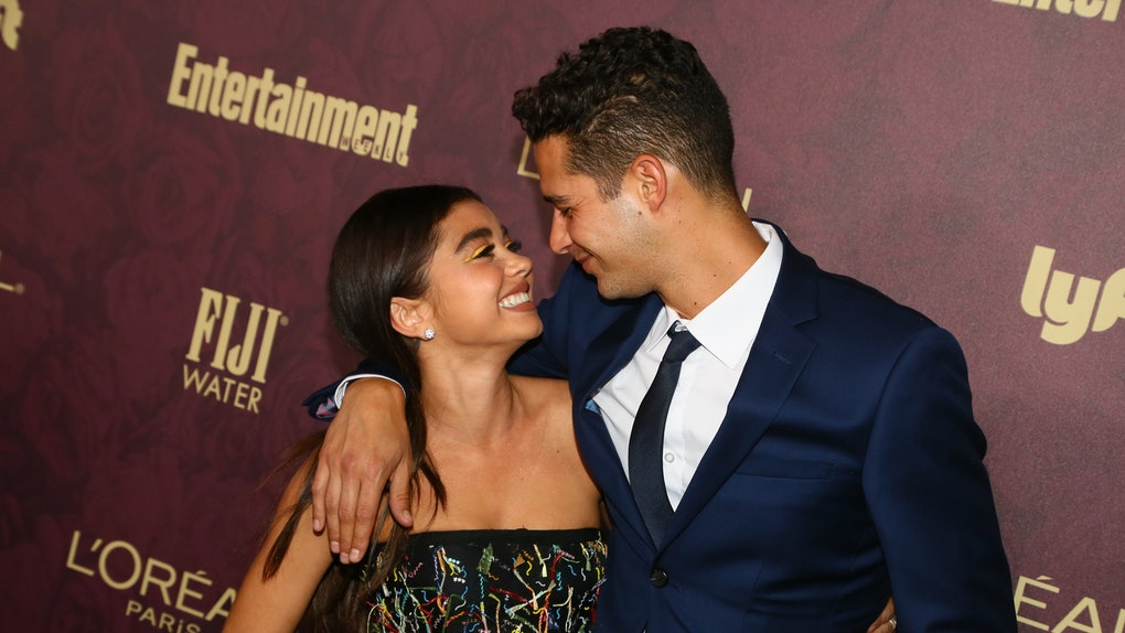WEST HOLLYWOOD, CA - SEPTEMBER 15:  Sarah Hyland (L) and Wells Adams arrive to the 2018 Entertainment Weekly Pre-Emmy Party at Sunset Tower Hotel on September 15, 2018 in West Hollywood, California.  (Photo by Gabriel Olsen/Getty Images)