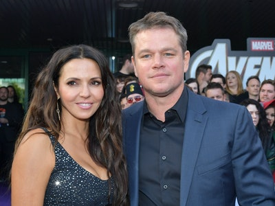 """LOS ANGELES, CA - APRIL 22:  Luciana Barroso (L) and Matt Damon attend the world premiere of Walt Disney Studios Motion Pictures """"Avengers: Endgame"""" at the Los Angeles Convention Center on April 22, 2019 in Los Angeles, California.  (Photo by Amy Sussman/Getty Images)"""