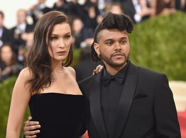 """NEW YORK, NY - MAY 02:  Bella Hadid and The Weeknd attend the """"Manus x Machina: Fashion In An Age Of..."""