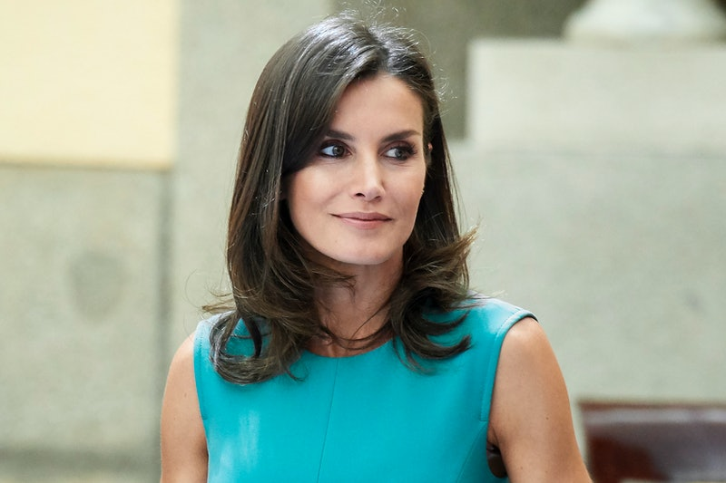 MADRID, SPAIN - JUNE 26:  Queen Letizia of Spain meets1 with the members of the Boards of Trustees of the Princess of Asturias Foundation at the Royal Palace of El Pardo on Madrid, Spain. (Photo by Carlos Alvarez/Getty Images)