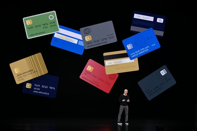 CUPERTINO, CA - MARCH 25:  Apple Inc. CEO Tim Cook speaks during a company product launch event at the Steve Jobs Theater at Apple Park on March 25, 2019 in Cupertino, California. Apple announced the launch of it's new video streaming service, unveiled a premium subscription tier to its News app, and announced  it would release its own credit card, called Apple Card.  (Photo by Michael Short/Getty Images)