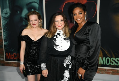 "HOLLYWOOD, CALIFORNIA - AUGUST 05: (L-R) Elisabeth Moss, Melissa McCarthy, and Tiffany Haddish attend the premiere of Warner Bros Pictures' ""The Kitchen"" at TCL Chinese Theatre on August 05, 2019 in Hollywood, California. (Photo by Kevin Winter/Getty Images)"