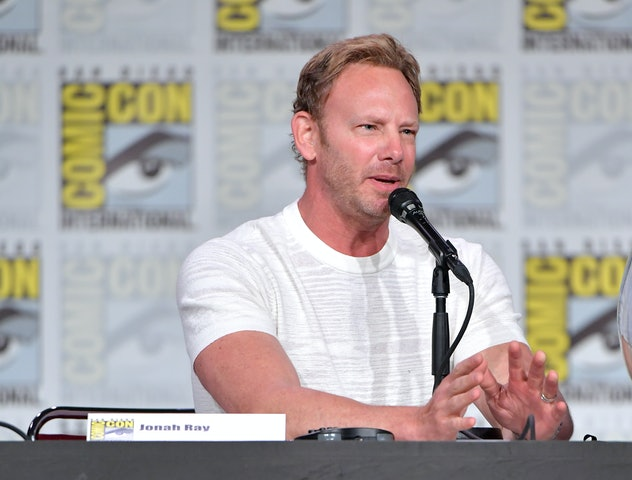 "SAN DIEGO, CALIFORNIA - JULY 19: Ian Ziering speaks at SYFY WIRE's ""It Came From The 90s"" during 2019 Comic-Con International at San Diego Convention Center on July 19, 2019 in San Diego, California. (Photo by Amy Sussman/Getty Images)"