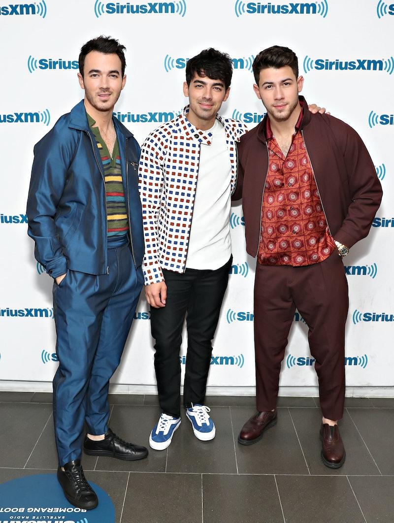 NEW YORK, NY - JUNE 06:  Kevin Jonas, Nick Jonas and Joe Jonas of Jonas Brothers visit SiriusXM Hits 1 at the SiriusXM Studios on June 6, 2019 in New York City.  (Photo by Cindy Ord/Getty Images for SiriusXM)