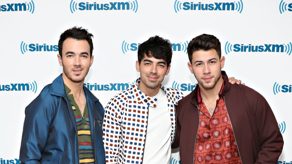 NEW YORK, NY - JUNE 06:  Kevin Jonas, Nick Jonas and Joe Jonas of Jonas Brothers visit SiriusXM Hits 1 at the SiriusXM Studios on June 6, 2019 in New York City.  (Photo by Cindy Ord/Getty Images for SiriusXM)