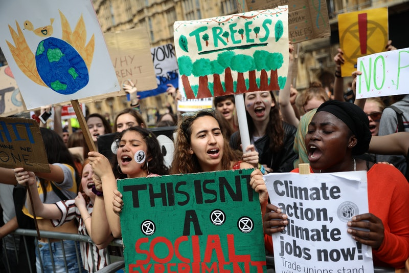 LONDON, ENGLAND - MAY 24: Students take part in a Climate rally in Parliament Square on May 24,, 2019 in London, United Kingdom. Students continue to stage protests, urging the government to declare a climate emergency and take action over the problem. They are keen that the national curriculum is reformed and the environmental crisis is communicated to the public. (Photo by Dan Kitwood/Getty Images)