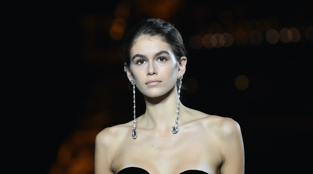 PARIS, FRANCE - SEPTEMBER 26:  Kaia Gerber walks the runway during the Saint Laurent show as part of the Paris Fashion Week Womenswear Spring/Summer 2018 on September 26, 2017 in Paris, France.  (Photo by Pascal Le Segretain/Getty Images)