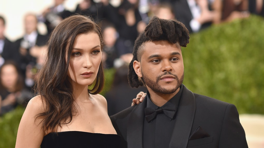 "NEW YORK, NY - MAY 02:  Bella Hadid and The Weeknd attend the ""Manus x Machina: Fashion In An Age Of Technology"" Costume Institute Gala at Metropolitan Museum of Art on May 2, 2016 in New York City.  (Photo by Dimitrios Kambouris/Getty Images)"