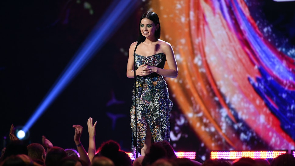 INGLEWOOD, CA - AUGUST 12:  Lucy Hale speaks onstage during FOX's Teen Choice Awards at The Forum on August 12, 2018 in Inglewood, California.  (Photo by Kevin Winter/Getty Images)