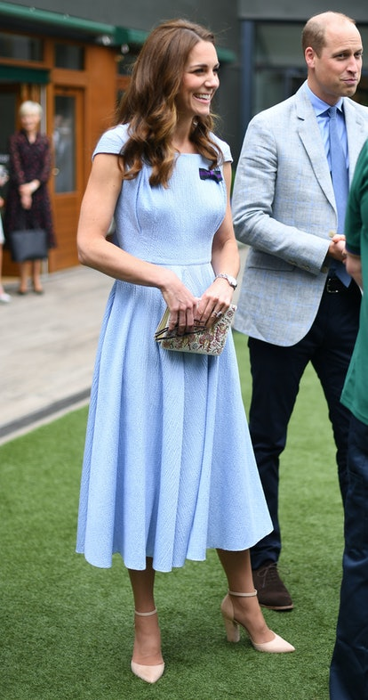 LONDON, UNITED KINGDOM - JULY 14: Catherine, Duchess of Cambridge and Prince William, Duke of Cambridge  arrive ahead of the Men's Singles Final on day thirteen of the Wimbledon Championships at the All England Lawn Tennis and Croquet Club, Wimbledon on July 14, 2019, in London, England. (Photo by Victoria Jones - WPA Pool/Getty Images)