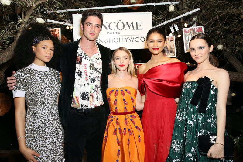 WEST HOLLYWOOD, CALIFORNIA - FEBRUARY 21: (L-R) Storm Reid, Jacob Elordi, Sydney Sweeney, Zendaya, and Maude Apatow attend Vanity Fair and Lancôme Toast Women In Hollywood on February 21, 2019 in West Hollywood, California. (Photo by Rachel Murray/Getty Images for Vanity Fair)