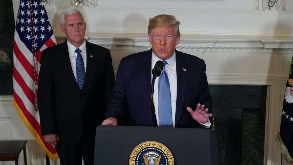 WASHINGTON, DC - AUGUST 05:  U.S. President Donald Trump makes remarks in the Diplomatic Reception Room of the White House as U.S. Vice President Mike Pence looks on August 5, 2019 in Washington, DC. President Trump delivered remarks on the mass shootings in El Paso, Texas, and Dayton, Ohio, over the weekend. (Photo by Alex Wong/Getty Images)