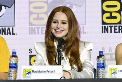 """SAN DIEGO, CALIFORNIA - JULY 21: Madelaine Petsch speaks at the """"Riverdale"""" Special Video Presentation and Q&A during 2019 Comic-Con International at San Diego Convention Center on July 21, 2019 in San Diego, California. (Photo by Kevin Winter/Getty Images)"""