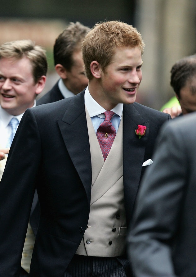 Prince Harry smiled at a family wedding in 1999.