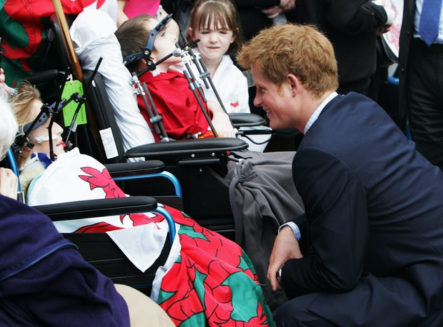Prince Harry met with hospital patients in 2008.