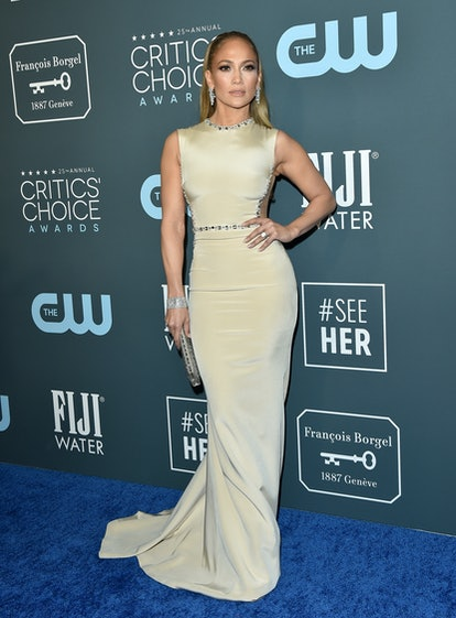 Jennifer Lopez debuted nude nails at the Critics' Choice Awards on Sun.