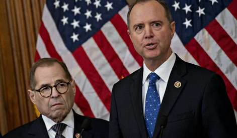 New York Rep. Jerry Nadler (left) and California Rep. Adam Schiff (right), two likely choices to join the team of impeachment managers who will present the case against President Trump to the Senate.