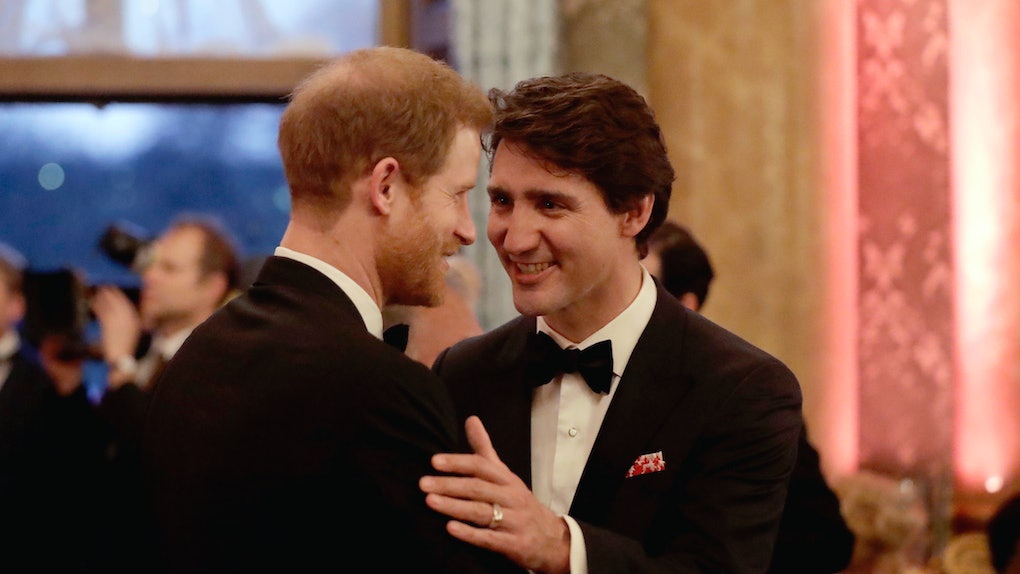 Prince Harry and Justin Trudeau catch up at an event.