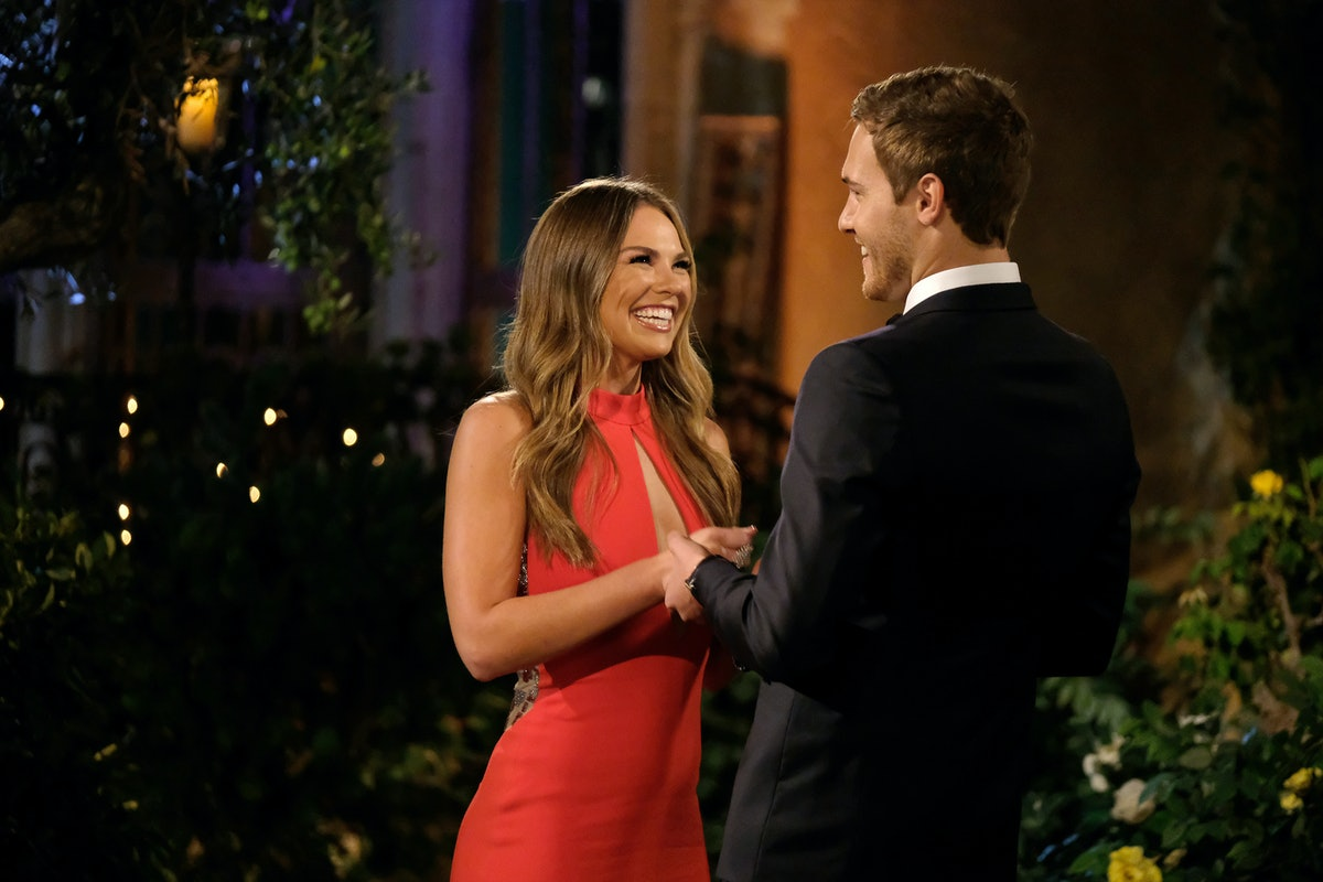 Hannah and Peter smile at each other during an episode of 'The Bachelor' on ABC.