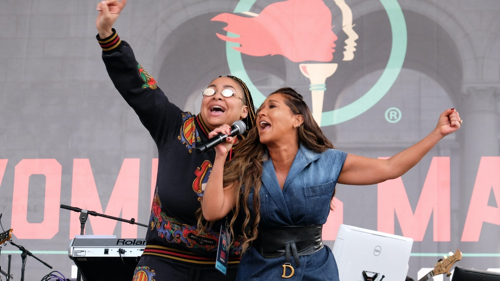 Raven Symone and Adrienne Bailon perform at the Women's March