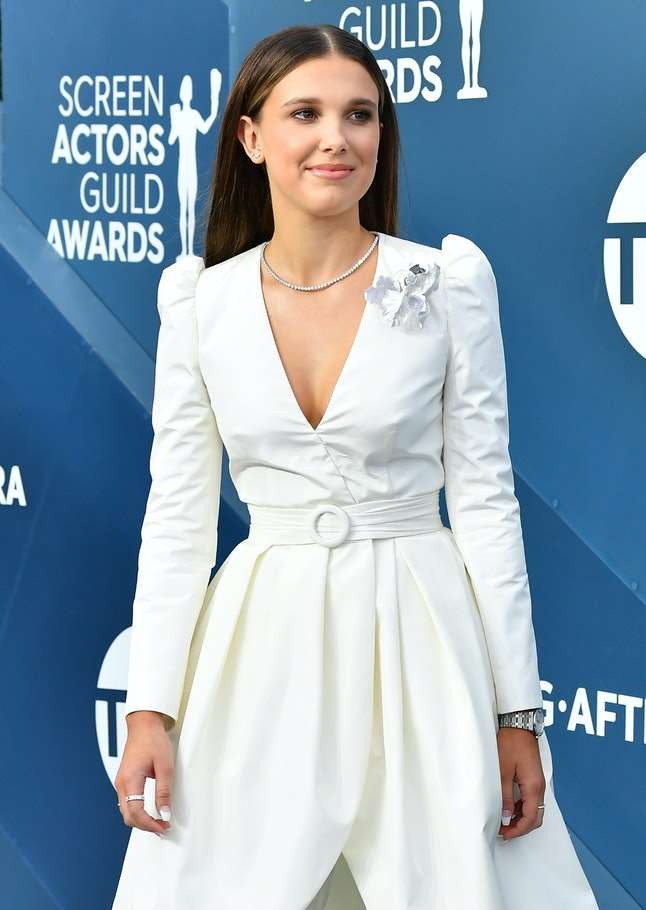 Millie Bobby Brown wore a half-suit, half-gown to the SAG Awards.
