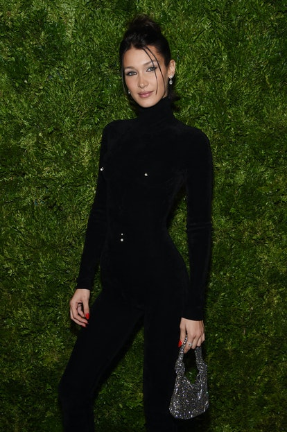 Bella Hadid's '90s updo with Alexander Wang outfit.
