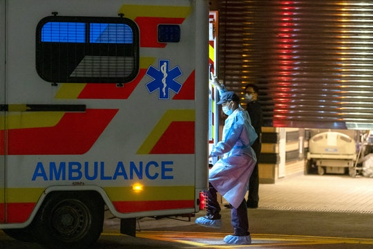 An ambulance outside a hospital. The CDC reported the first confirmed case of the coronavirus in Washington State.