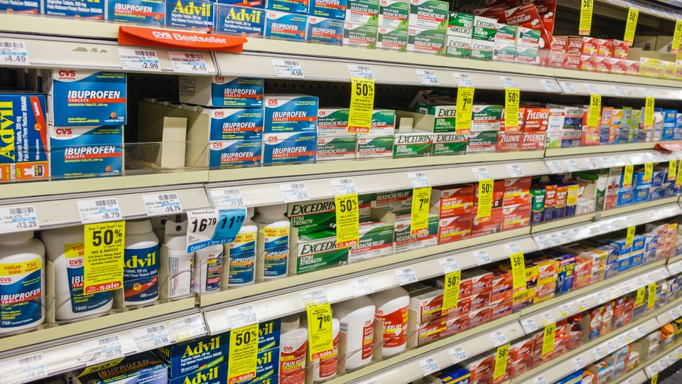 over-the-counter pain pills, Excedrin, on store shelves