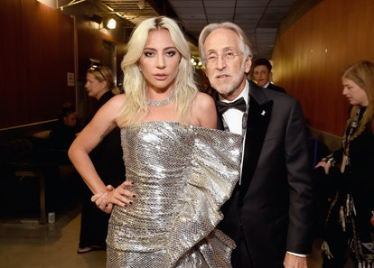 LOS ANGELES, CA - FEBRUARY 10: Lady Gaga and Neil Portnow backstage during the 61st Annual GRAMMY Aw...