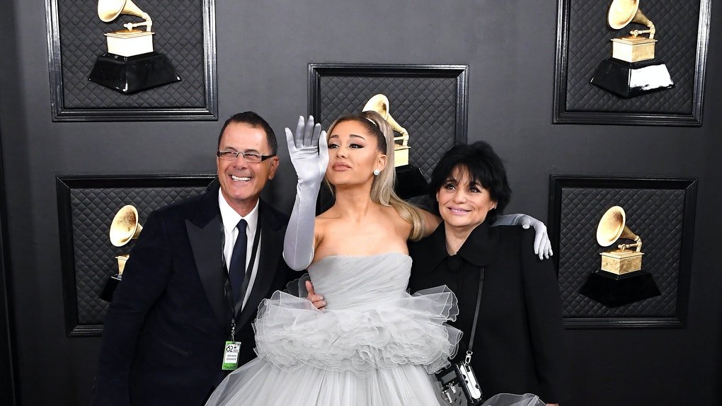Ariana Grande and her parents attend the 2020 Grammy Awards.