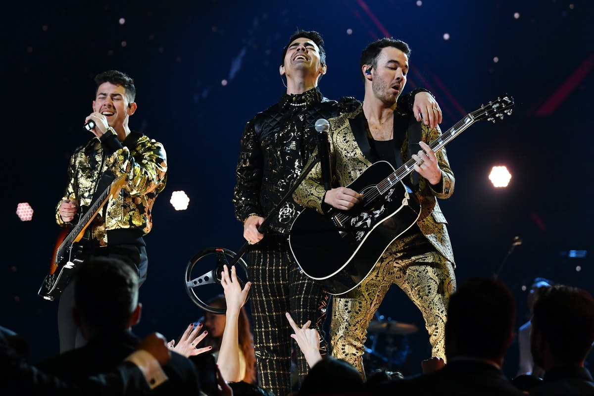The Jonas Brothers perform at the 2020 Grammys.