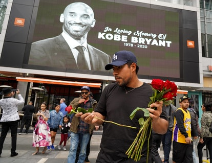 Fans and other mourners gathered at L.A.'s Staples Center during the 2020 Grammys to honor the late Kobe Bryant.