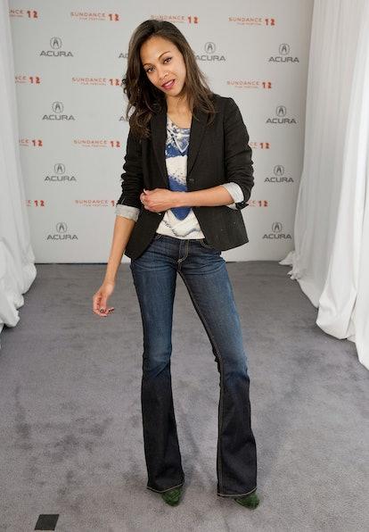 Zoe Saldana wearing flared jeans