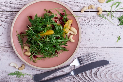 A vegan salad. Various nutrients in vegetables and fruit can help brain health, but an entirely plant-based diet may also have negative consequences for the brain.