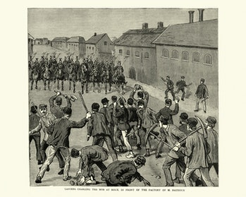 Soldiers charging striking miners in Belgium, in 1886.