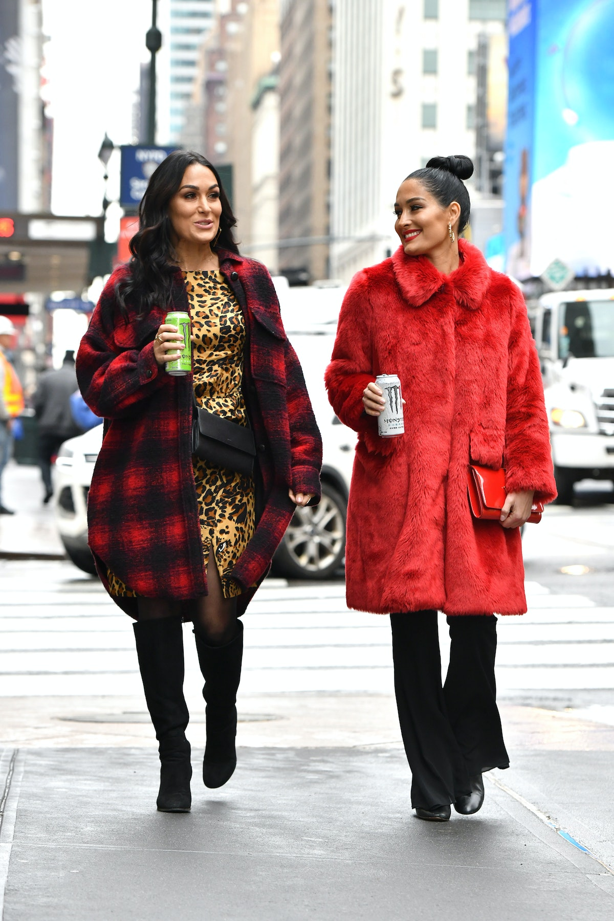 Nikki and Brie Bella step out for coffee.