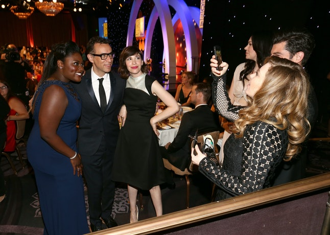 Natasha Lyonne takes a picture of Danielle Brooks, Fred Armisen, and Carrie Brownstein at the 2014 Critics' Choice Television Awards
