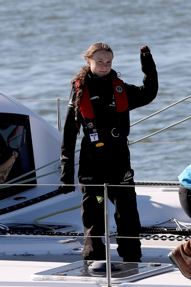 Greta Thunberg travels by sailboat to lessen her carbon footprint.