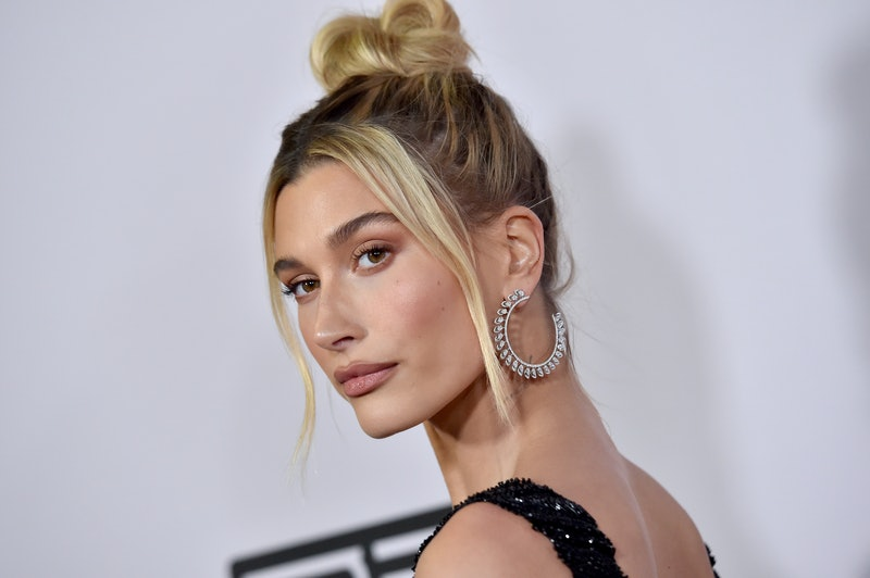 Hailey Baldwin's red lipstick and matching shoes nailed monochromatic style.