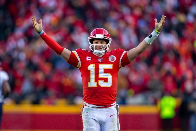Patrick Mahomes of the Kansas City Chiefs celebrating being in Super Bowl LIV