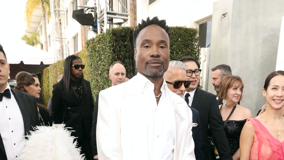 Billy Porter's outfit at the 2020 Golden Globes came with his own personal train holder.