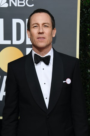 Olivia Colman's costar Tobias Menzies wore the same badge promoting ERA5050.