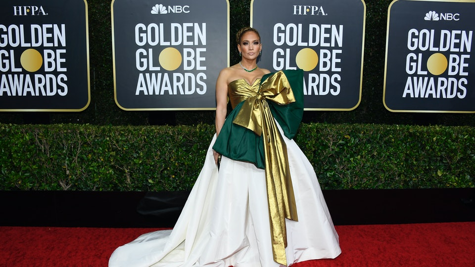 Jennifer Lopez and 2020 Golden Globe Award nominee showed up to the red carpet wearing a dress with a larger than life bow on it.