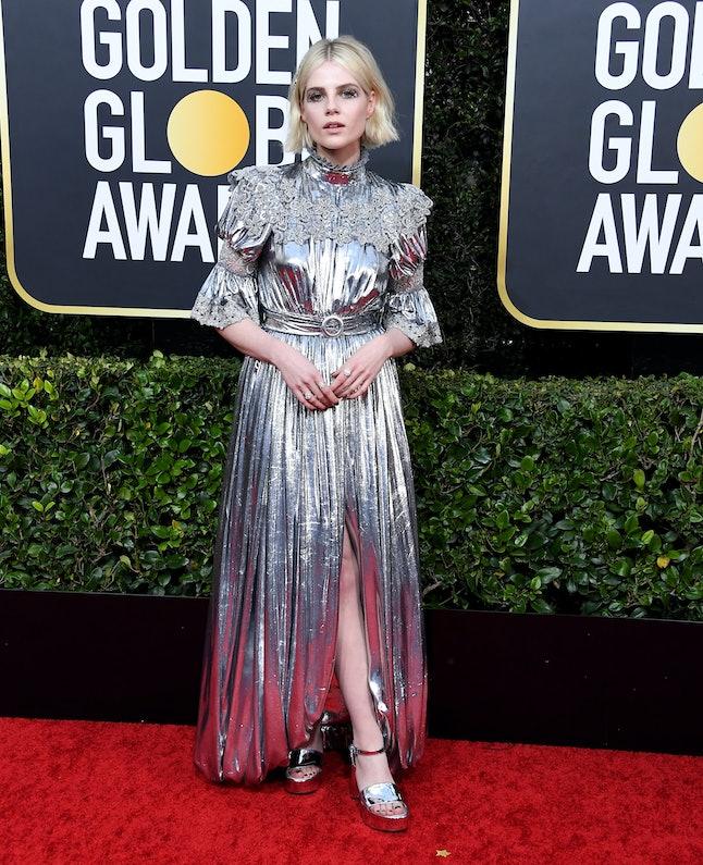 Lucy Boynton donned metallic Louis Vuitton for the 2020 Golden Globes