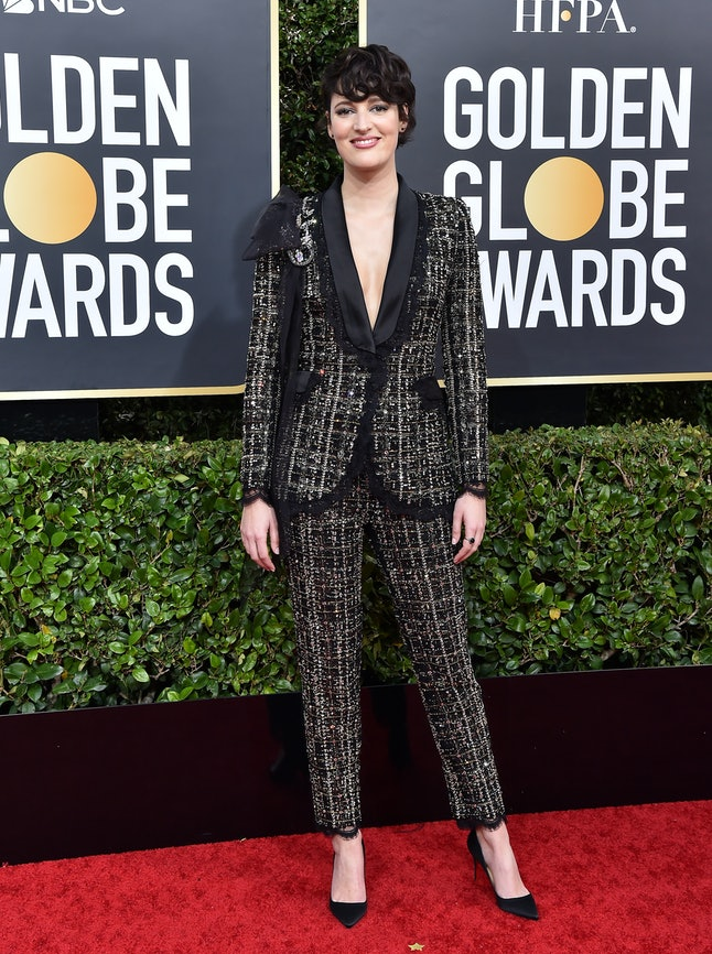 Phoebe Waller-Bridge chose a tweed Ralph & Russo suit for the 2020 Golden Globes
