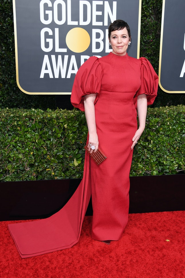 Olivia Colman chose a puffy red gown by Emilia Wickstead for the 2020 Golden Globes
