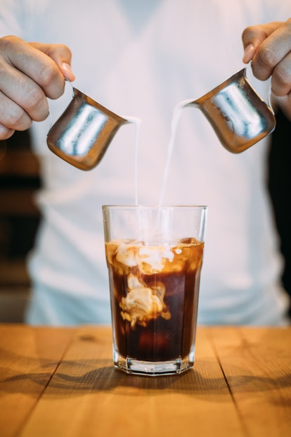An obmre iced coffee is an easy vegan Starbucks hack.