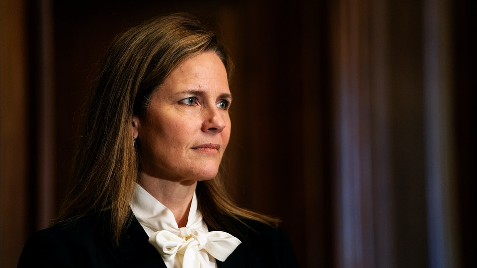 A new report from the National Review alleges Amy Coney Barrett supported an anti-choice group that argues life begins at fertilization.