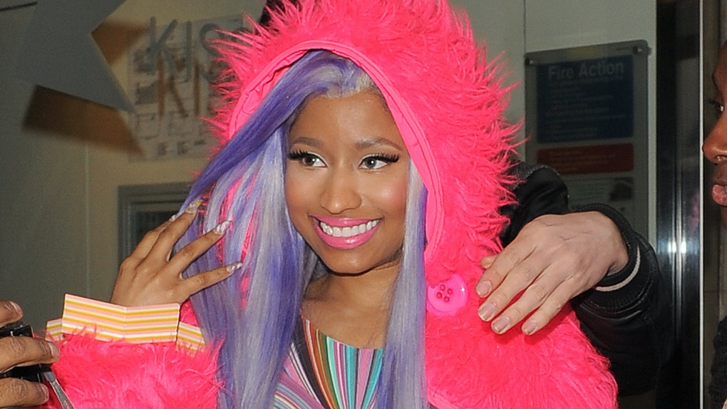 Nicki Minaj steps out in a colorful outfit.